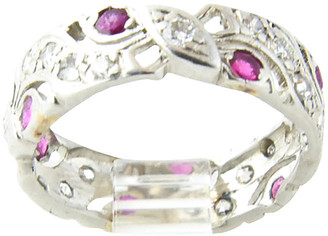 One Kings Lane Vintage Art Deco Diamond & Ruby Platinum Band - Owl's Roost Antiques