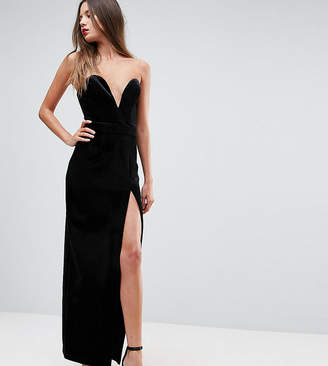 Taller Than Your Average TTYA BLACK Structured Bandeau Maxi Dress With High Thigh Split