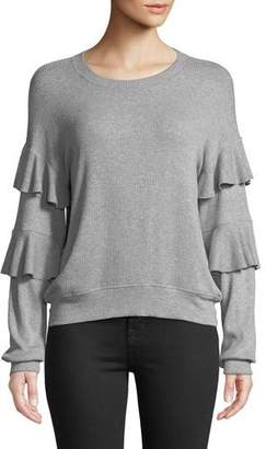 Generation Love Adrianne Ruffle-Sleeve Knit Crewneck Top