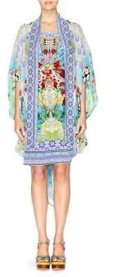 Camilla Abstract-Print Silk Cardigan