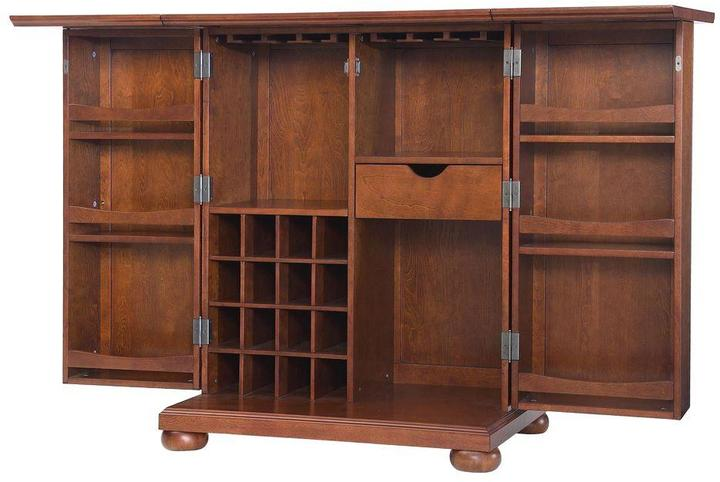 Crosley Alexandria Expandable Bar Cabinet in Cherry