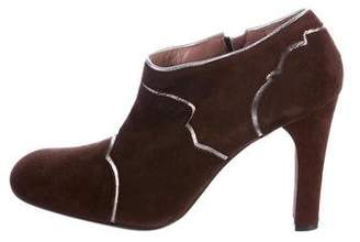 Marni Suede Round-Toe Ankle Booties