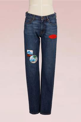 Kenzo Straight Cotton Jean with Patches