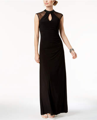 Betsy & Adam B & A by Mesh Keyhole Mock-Neck Gown