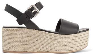 Prada Leather Espadrille Platform Sandals - Black