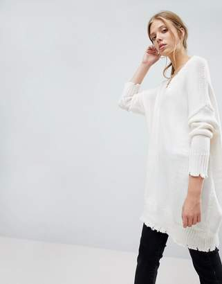 Bershka V Neck Nibbled Jumper