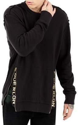 True Religion Zip-Trim Crewneck Sweater