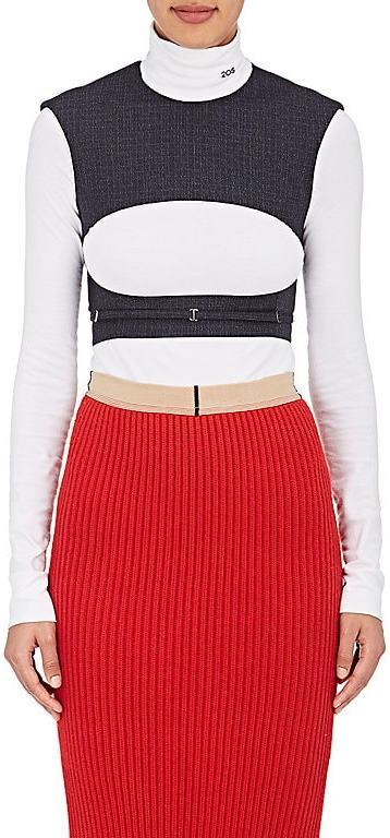 CALVIN KLEIN 205W39NYC Women's Checked Wool Cutout Crop Top