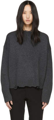 Helmut Lang Grey Distressed Crewneck Sweater