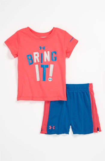 Under Armour T-Shirt & Shorts (Infant) Pink/ Turquoise 18M