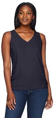 Lark & Ro Women's Sleeveless V-Neck Tank Top with Clean Hem