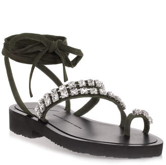 Giuseppe Zanotti Khaki suede crystal sandal