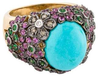 LeVian Le Vian 14K Turquoise & Multi-Gemstone & Diamond Ring