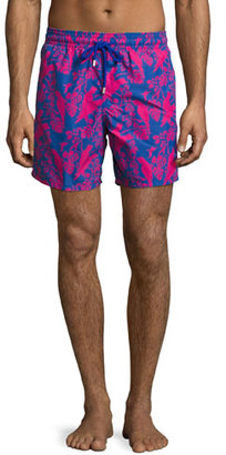 Vilebrequin Moorea Cockatoo Swim Trunks, Indigo/Fuchsia $250 thestylecure.com