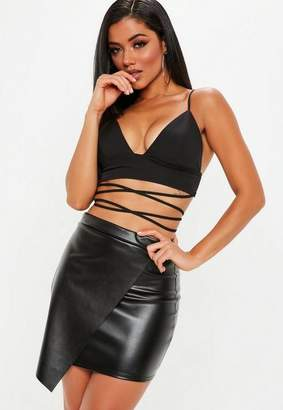 Missguided Black Faux Leather Wrap Over Skirt