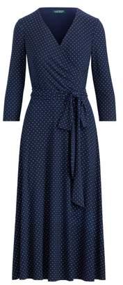 Ralph Lauren Polka-Dot Ruched Dress