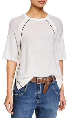Brunello Cucinelli Monili-Beaded Shimmered Raglan-Sleeve Sweater