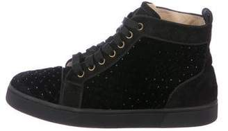 Christian Louboutin Velvet Embellished High-Top Sneakers