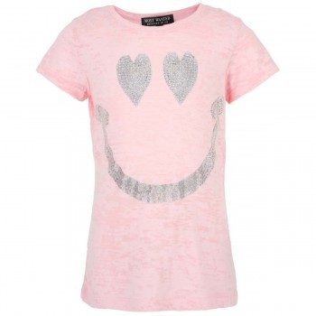 Most Wanted Pink sequin smile tee