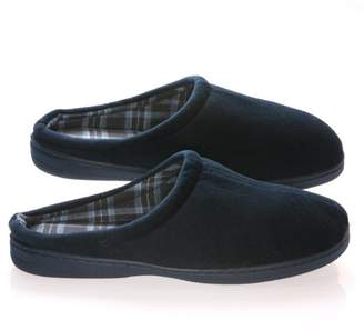 Deluxe Comfort Men's Slip-On House Slipper, Size 11-12 Comfortable Foam Cushioning Classic Checkered Plaid Lining Durable Non-Marking Rubber Sole Men's Slippers, Blue