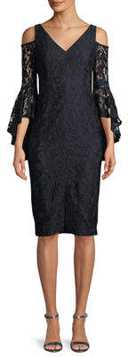 Maggy London Lace Cold-Shoulder Bell Sleeve Dress