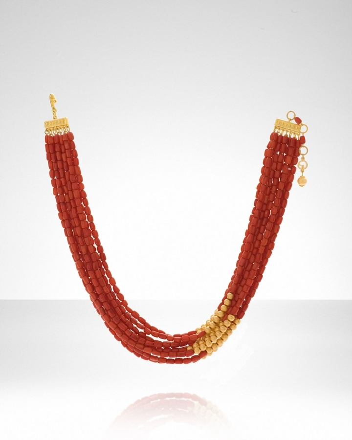 Women's Multi-Strand Coral Necklace