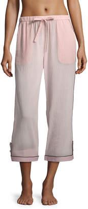 Neiman Marcus Morgan Lane Petal Pinstriped Crop Pajama Pants