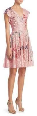 Monique Lhuillier Floral-Print A-Line Dress