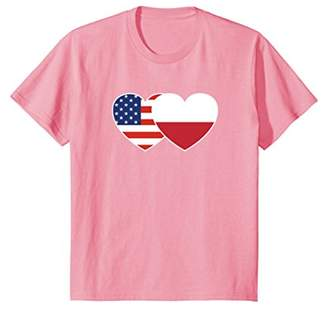 Poland USA Flag Twin Heart T Shirt for Poles Americans