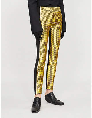 Haider Ackermann Side-stripe leather and silk-satin trousers