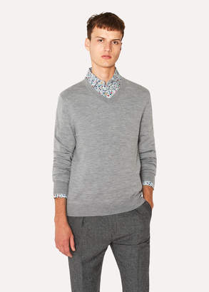 Paul Smith Men's Light Grey Marl V-Neck Merino Wool Sweater