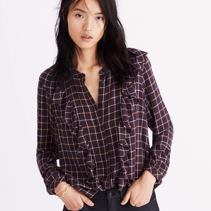 Plaid Ruffle-Front Top