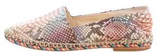 Alexandre Birman Leather Round-Toe Espadrilles