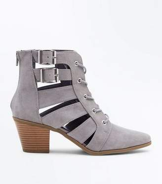 New Look Grey Cut Out Lace-Up Heeled Boots