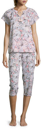 Liz Claiborne Womens Capri Pajama Set 2-pc. Short Sleeve Y-Neck