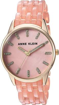 Anne Klein Women's AK/2616LPGB Glitter Accented Gold-Tone and Blush Pink Transparent Resin Bracelet Watch
