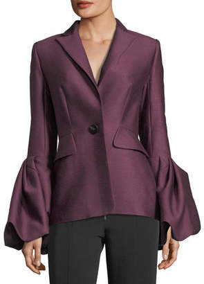 Roksanda Notch-Collar One-Button Pouf-Cuff Wool-Silk Jacket