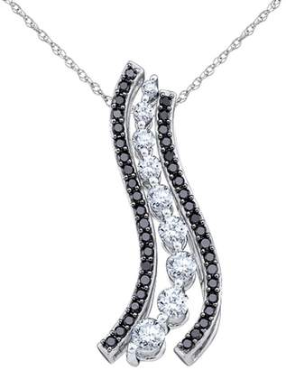 Black Diamond Gem And Harmony and Journey Pendant Necklace 1/2 Carat (ctw) in 10K Gold