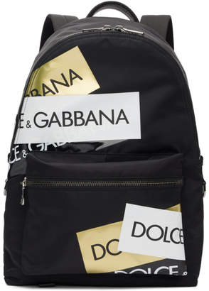 Dolce & Gabbana Black Logo Tape Backpack
