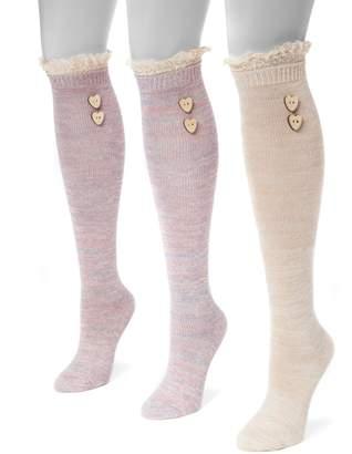 Muk Luks Women's 3-pk. Lace Heart Button Knee-High Socks