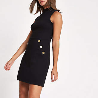 River Island Black ponte button side mini dress