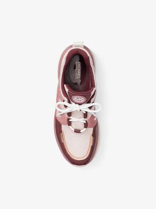 MICHAEL Michael Kors Olympia Canvas and Tri-Color Leather Trainer