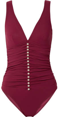 Karla Colletto Amma Embellished Ruched Underwired Swimsuit - Burgundy