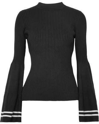 Mother of Pearl Corinne Striped Ribbed-knit Sweater - Black