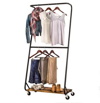 Honey-Can-Do Rustic Z-Frame Garment Rack with Bottom Shelf, Black