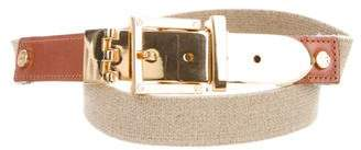 Tory Burch Leather-Trimmed Buckle Belt