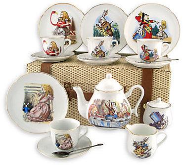 Reutter Porcelain Kid's Alice In Wonderland Large 19-Piece Tea Party Set