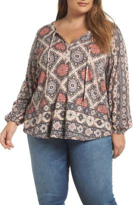 Lucky Brand Printed Tie Neck Top