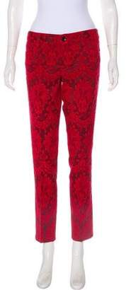 Alice + Olivia Embroidered Low-Rise Pants