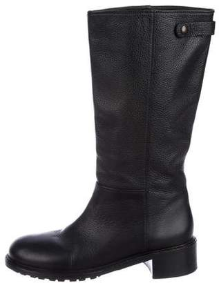Vince Leather Round-Toe Mid-Calf Boots